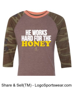 He works hard for the Honey Men's Baseball T-Shirt Design Zoom